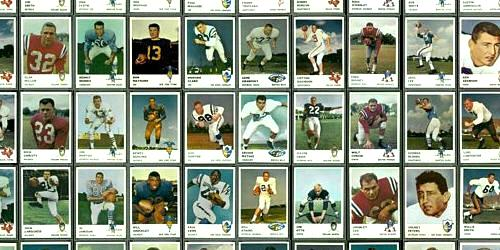 Virtual Uncut Sheet of 1961 Fleer football cards