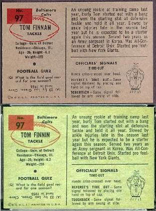 1954 Bowman Tom Finnin football card backs