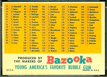 1957 Topps football card checklist with Bazooka back