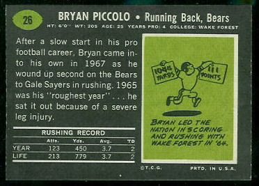 1969 Topps Brian Piccolo rookie football card back