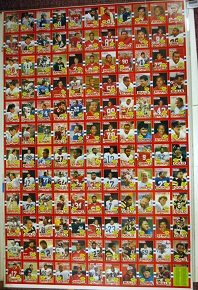 Uncut sheet of 1985 USFL football cards