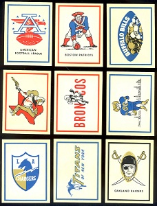 1960 Fleer AFL Team Logo Stickers