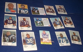 Hand-cut 1961 Fleer football cards