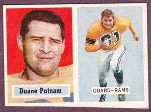 1957 Topps Duane Putnam football cards