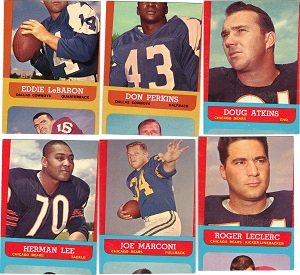 Miscut 1963 Topps football cards