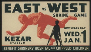 1930s East-West Shrine Game sticker