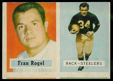 Miscut 1957 Topps Fran Rogel football card