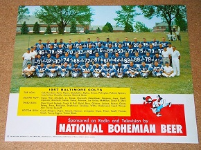 National Bohemian Beer 1957 Baltimore Colts Team photo