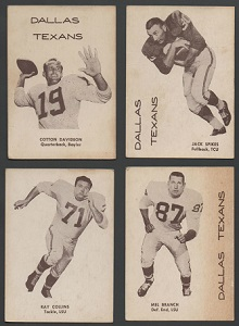 1960 7-Eleven Dallas Texans football cards