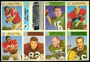 Uncut panel of 1966 Philadelphia football cards
