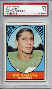 1967 Milton Bradley Joe Namath football card