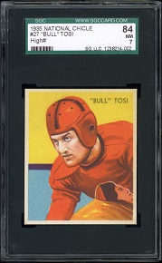 1935 National Chicle Bull Tosi football card
