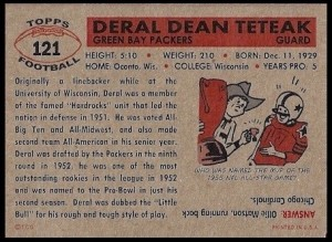Back of Deral Teteak RetroCard football card