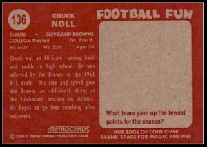 Back of Chuck Noll RetroCard football card