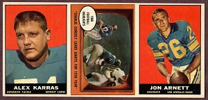 1961 Topps football card advertising panel