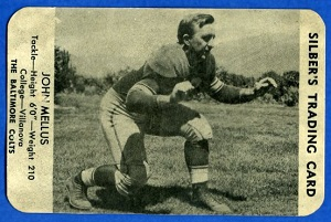 1949 Silber's Bakery Colts John Mellus football card