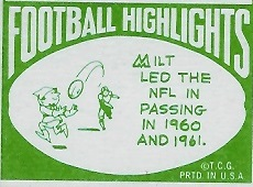 Cartoon on back of 1968 Topps football card