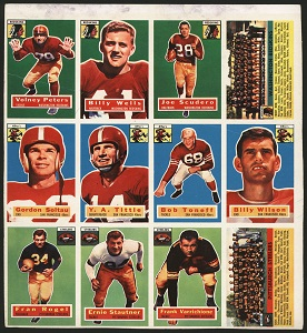 Uncut panel of 1956 Topps football cards