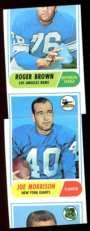miscut 1968 Topps football cards