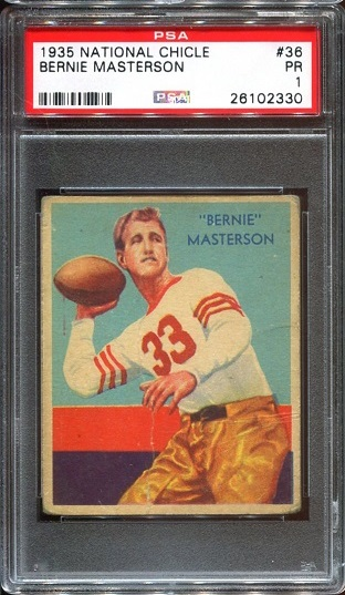 1935 National Chicle #36 - Bernie Masterson - PSA 1