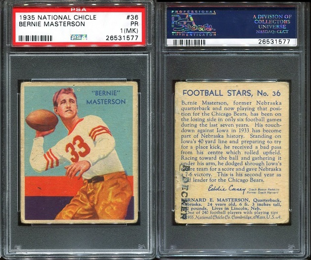 1935 National Chicle #36 - Bernie Masterson - PSA 1 MK