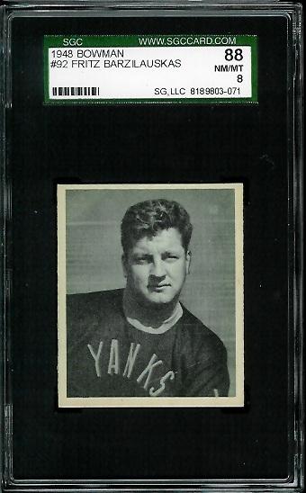 1948 Bowman #92 - Frank Barzilauskas - SGC 88