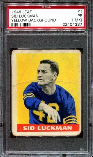 1948 Leaf #1 - Sid Luckman - PSA 1 mk