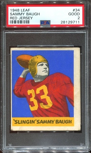1948 Leaf #34 - Sammy Baugh - PSA 2