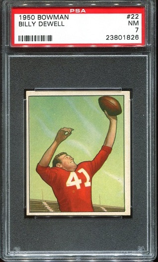 1950 Bowman #22 - Billy Dewell - PSA 7