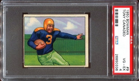 1950 Bowman #9 - Tony Canadeo - PSA 4