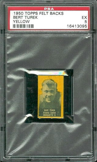 1950 Topps Felt Backs #87Y - Bert Turek (yellow) - PSA 5