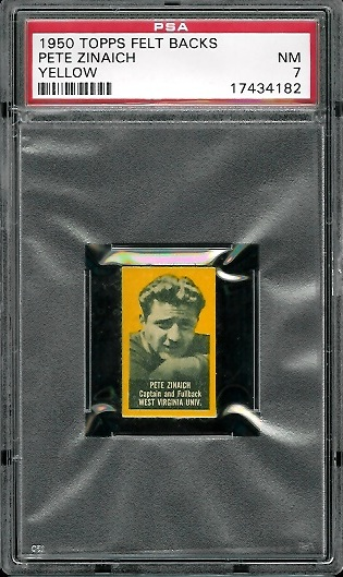 1950 Topps Felt Backs #100Y - Pete Zinaich (yellow) - PSA 7