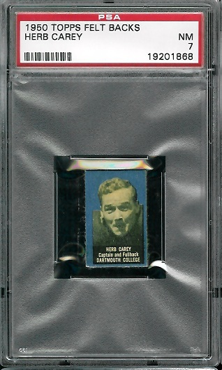 1950 Topps Felt Backs #12 - Herb Carey - PSA 7