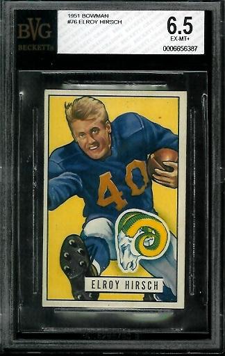 1951 Bowman #76 - Elroy Hirsch - BVG 6.5