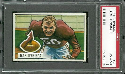 1951 Bowman #98 - Jack Jennings - PSA 8