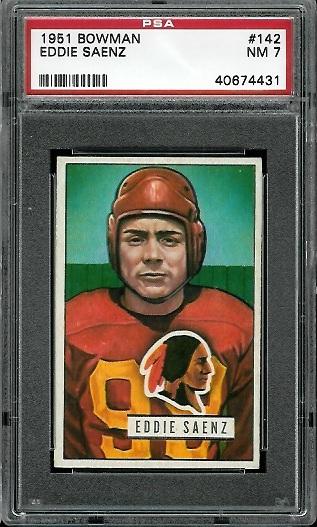 1951 Bowman #142 - Eddie Saenz - PSA 7
