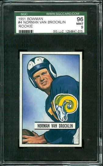 1951 Bowman #4 - Norm Van Brocklin - SGC 96