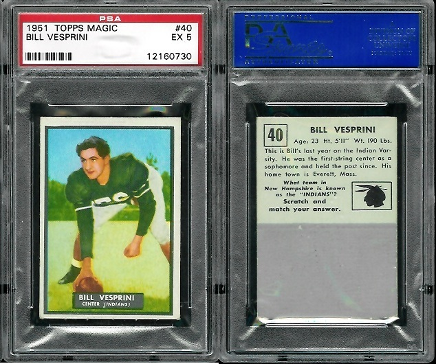 1951 Topps Magic #40 - Bill Vesprini - PSA 5
