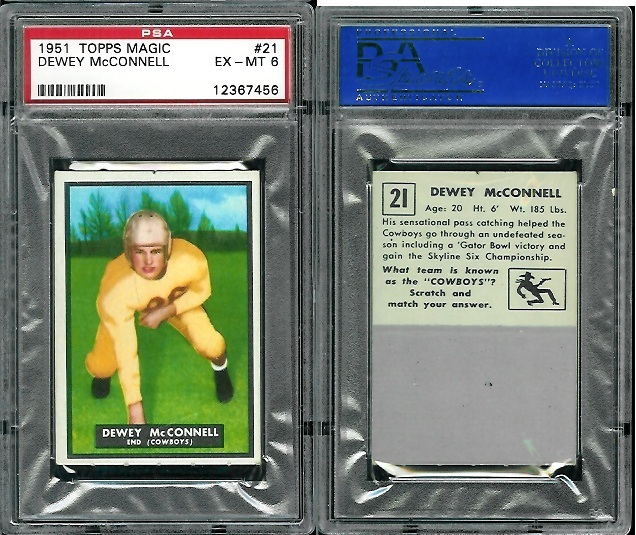1951 Topps Magic #21 - Dewey McConnell - PSA 6