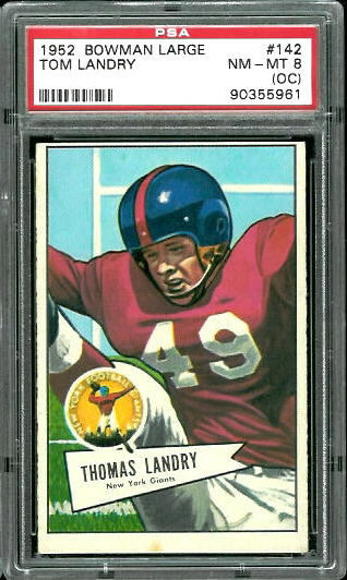 1952 Bowman Large #142 - Tom Landry - PSA 8 oc