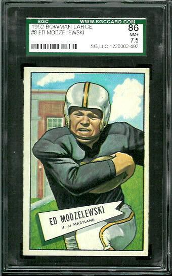 1952 Bowman Large #8 - Ed Modzelewski - SGC 86