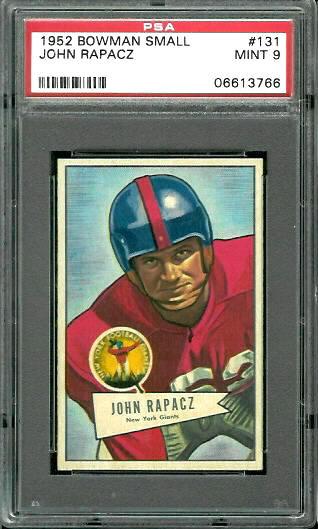 1952 Bowman Small #131 - John Rapacz - PSA 9