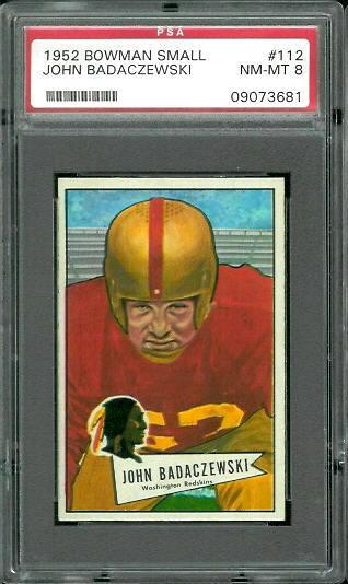 1952 Bowman Small #112 - John Badaczewski - PSA 8