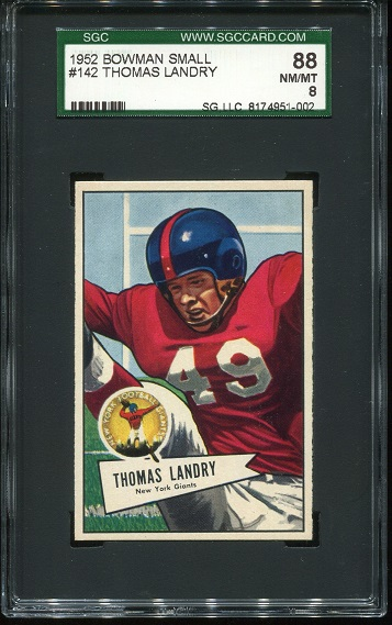 1952 Bowman Small #142 - Tom Landry - SGC 88