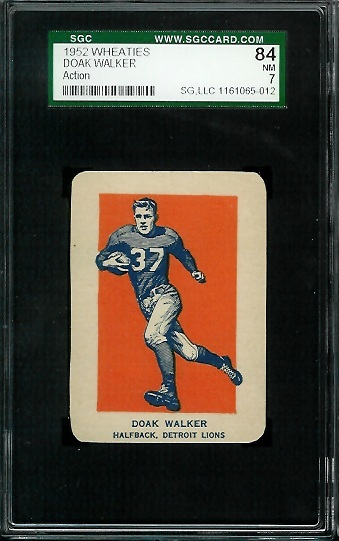 1952 Wheaties #9 - Doak Walker in Action - SGC 84
