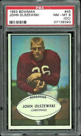 1953 Bowman #45 - John Olszewski - PSA 8 oc