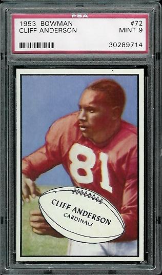 1953 Bowman #72 - Cliff Anderson - PSA 9