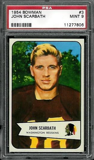 1954 Bowman #3 - Jack Scarbath - PSA 9