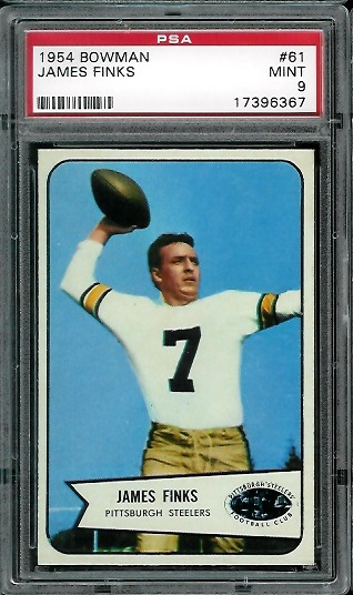 1954 Bowman #61 - Jim Finks - PSA 9