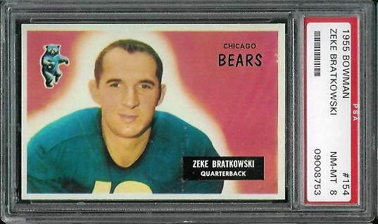 1955 Bowman #154 - Zeke Bratkowski - PSA 8